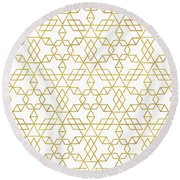 Art Deco Gold Round Beach Towel by Uma Gokhale