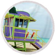 Art Deco Lifeguard Shack Round Beach Towel