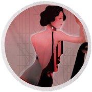 Round Beach Towel featuring the digital art Art Deco Valentine Greeting by Jeff Burgess
