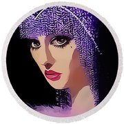 Flapper In Purple Hat Round Beach Towel by Chuck Staley