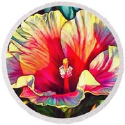 Art Floral Interior Design On Canvas Round Beach Towel
