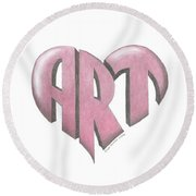 Art Heart Round Beach Towel