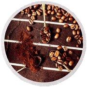Art In Coffee Process  Round Beach Towel