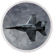 Aaron Berg Photography Round Beach Towel featuring the photograph Art In Flight F-18 Fighter by Aaron Lee Berg