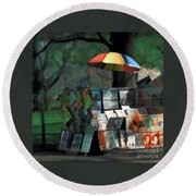 Art In The Park - Central Park New York Round Beach Towel