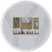 Round Beach Towel featuring the painting Art Is Long, Life Is Short by Glenn Quist