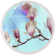 Art Magnolia Round Beach Towel