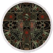 Art Nouveau Crucifix Round Beach Towel