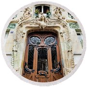 Art Nouveau Doors - Paris, France Round Beach Towel by Melanie Alexandra Price