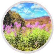 Art Photo Of Vermont Rolling Hills With Pink Flowers In The Foreground Round Beach Towel