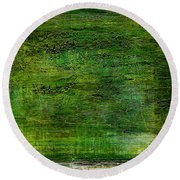 Art Print Green White Round Beach Towel