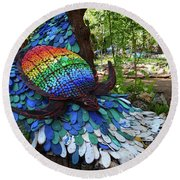 Art With Recycling - Turtle Round Beach Towel