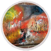 Round Beach Towel featuring the painting Art Work by Sheila Mcdonald