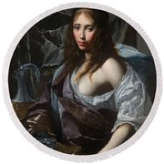 Artemisia Prepares To Drink The Ashes Of Her Husband Mausolus    Round Beach Towel