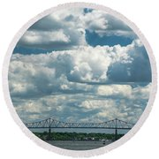 Arthur Kill And Outerbridge Crossing Round Beach Towel