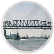 Arthur Kill The Four Tugs Round Beach Towel