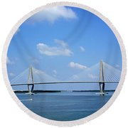Arthur Ravenel Jr. Bridge - Charleston Round Beach Towel