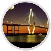 Arthur Ravenel Bridge At Night Round Beach Towel