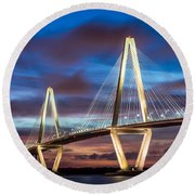Arthur Ravenel Bridge At Night Round Beach Towel by Jennifer White