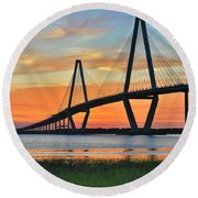 Arthur Ravenel Jr. Bridge At Dusk - Charleston Sc Round Beach Towel
