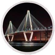 Arthur Ravenel Jr. Bridge At Midnight Round Beach Towel