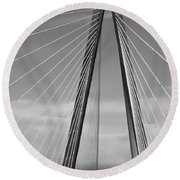 Arthur Ravenel Jr Bridge II Round Beach Towel by DigiArt Diaries by Vicky B Fuller