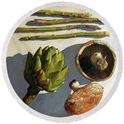 Round Beach Towel featuring the painting Artichoke And Friends by John Dyess