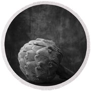Artichoke Black And White Still Life Round Beach Towel by Edward Fielding