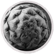 Artichoke Black And White Still Life Two Round Beach Towel by Edward Fielding