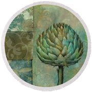 Artichoke Margaux Round Beach Towel by Mindy Sommers
