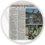 Article On Action Photography Round Beach Towel