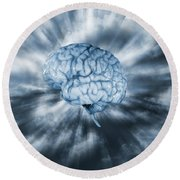 Artificial Intelligence With Human Brain Round Beach Towel by Christian Lagereek