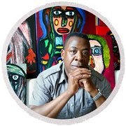 Artist Darrell Urban Black Surrounded By His Artwork  Round Beach Towel