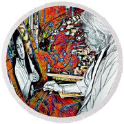 Artist In Abstract Round Beach Towel