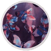 Artistic Colorful Butterfly Design Round Beach Towel