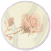 Artistic Etched Rose Round Beach Towel by Linda Phelps