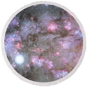 Round Beach Towel featuring the digital art Artist's View Of A Dense Galaxy Core Forming by Nasa