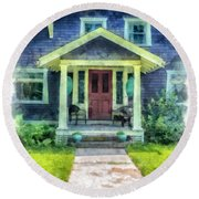 Arts And Crafts Home Deerfield Ma Watercolor Round Beach Towel