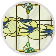 Arts And Crafts Panel Of A Group Of Swallows Before Clouds In A Border Of Flowers Round Beach Towel