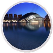 Round Beach Towel featuring the photograph Arts And Science Museum Valencia by Graham Hawcroft pixsellpix