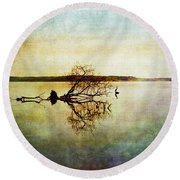 Artsy Lake Reflections Round Beach Towel
