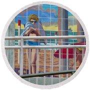 Artwork On The Boardwalk - Huntington Beach Round Beach Towel by Lori Seaman