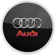 Audi - 3 D Badge On Black Round Beach Towel by Serge Averbukh