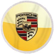 Porsche - 3d Badge On Yellow Round Beach Towel by Serge Averbukh