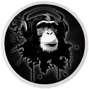 Monkey Business - Black Round Beach Towel by Nicklas Gustafsson