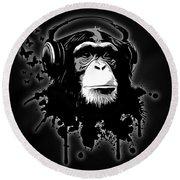 Monkey Business - Black Round Beach Towel by Nicklas Gustafsson