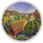 Folk Art Covered Bridge Appalachian Country Farm Summer Landscape - Appalachia - Rural Americana Round Beach Towel