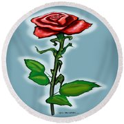 Single Red Rose Round Beach Towel by Kevin Middleton