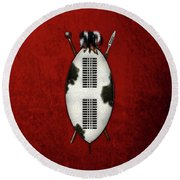 Zulu War Shield With Spear And Club On Red Velvet  Round Beach Towel