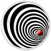 Time Tunnel Op Art Round Beach Towel by Methune Hively